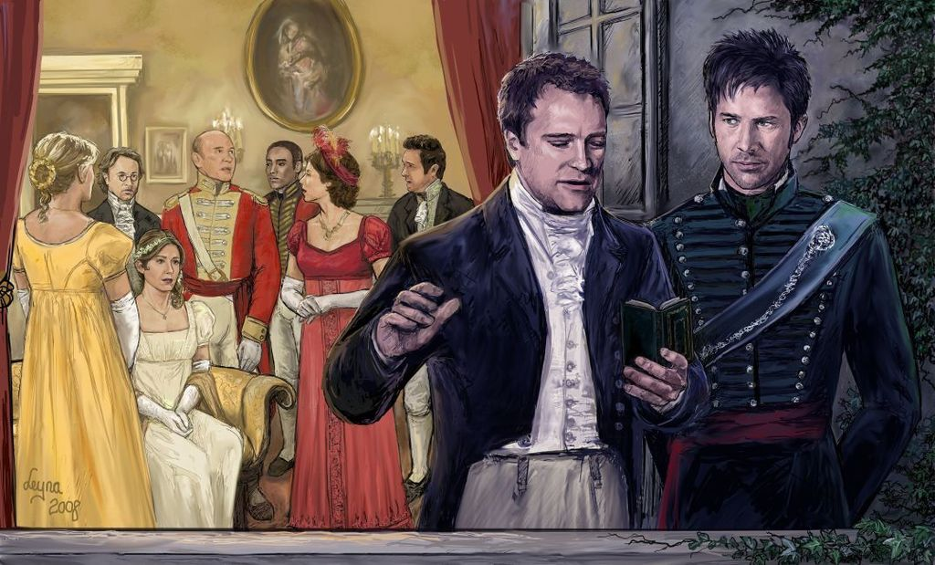 Rodney and John, dressed in Regency costume, converse quietly on a balcony while various other SGA characters can be seen inside the room behind them